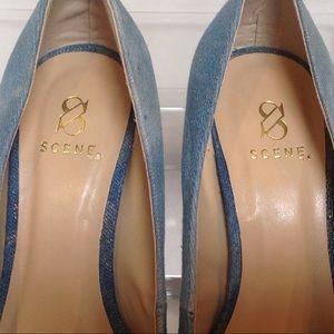 "Shoe Dazzle Shoes - Scene Keyshia Size 5.5 Denim stiletto 5 1/2"" heels"